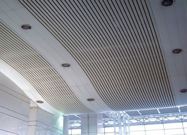 Metal Aluminium Strip Plate Baffle Clip Plain Ceiling Panels For Subway Metro Station